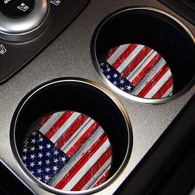 2pcs Car Cup Holder Coasters Universal Neoprene Anti Slip American Flag Print