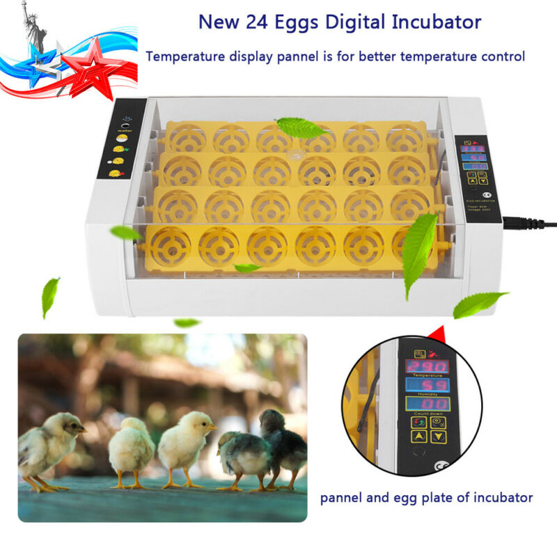 24eggs Automatic Turner Egg Incubator Chicken Duck Quail Goose Hatcher Heater US
