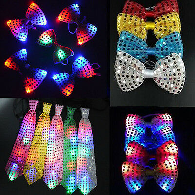 LED Flashing Light Up Sequins Bowtie Necktie Bow Tie Wedding Party - Led Bow Tie