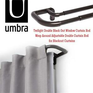 NEW Umbra Twilight Double Black Out Window Curtain Rod  Wrap Around Adjustable Double Curtain Rod for Blackout Curta...