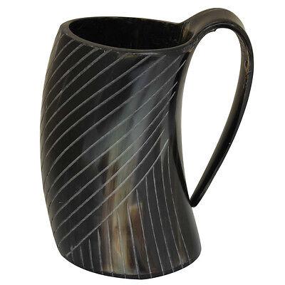 Medieval Bottoms up Drinking Bovine Horn Engraved Tankard Viking Beer Mug