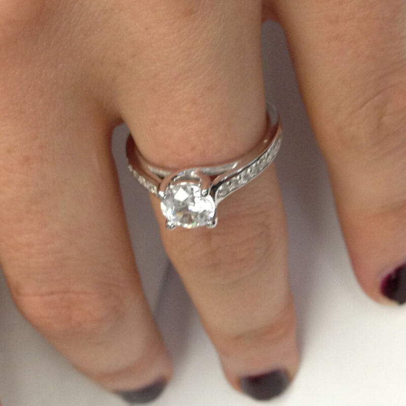 Bridal Engagement Ring 1.26 Ct Round Cut D/si 14k White Gold Enhanced Diamond