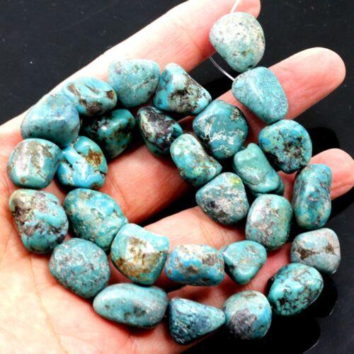 """Natural Blue Kingman Turquoise Nugget Rough Loose Beads 15""""12-16mm (TU763)c"""