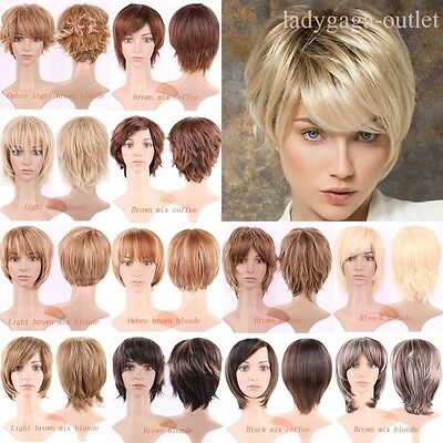 2016 Trendy Boy Cut Short Hair Wig Brown Blonde Curly Straight Women Ladies Wigs