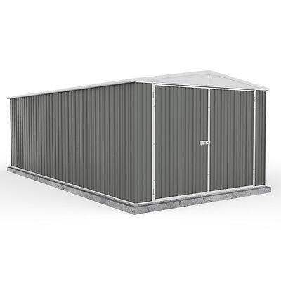 20' x 10' Grey Apex Roof Metal Garage Workshop - Easy Build - Double Doors