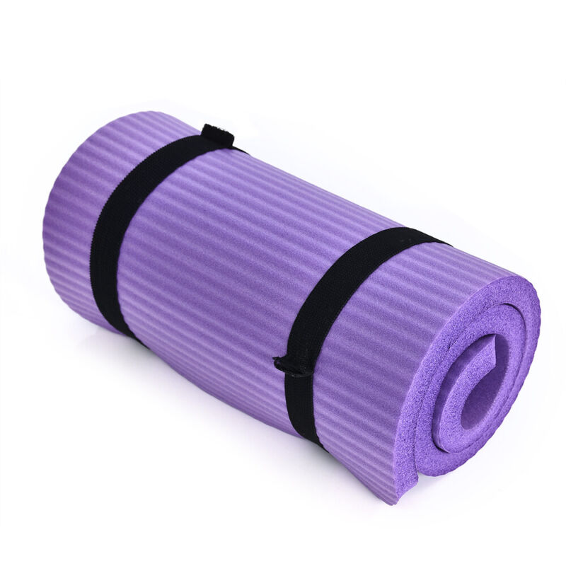 Extra Thick Nonslip Yoga Mat Pad Exercise Fitness Pilates w Strap 24x10