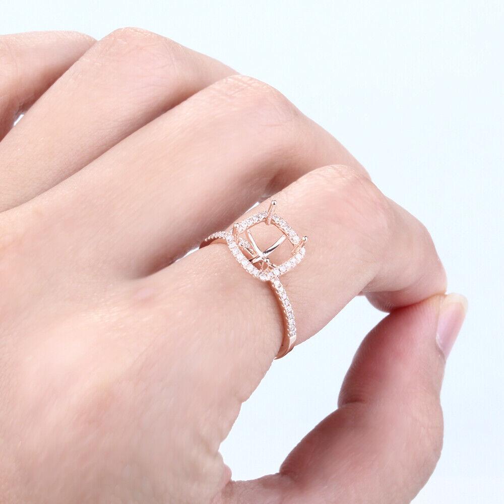10K Rose Gold Cushion 7x7mm Natural Diamond Semi Mount Engagement ...