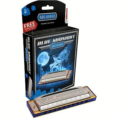 NEW HOHNER MS SERIES 595BL BLUE MIDNIGHT HARMONICA IN KEY OF F  MADE IN GERMANY on Rummage
