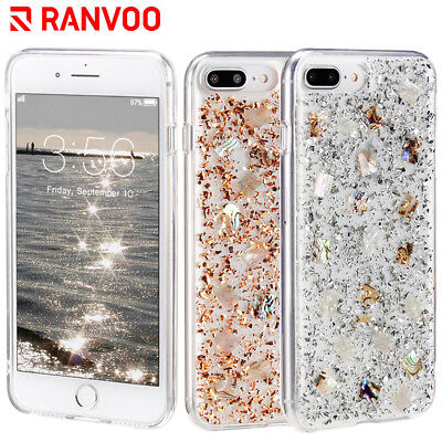 RANVOO For iPhone 7Plus 8Plus Case Mother of Pearl Foil Glitter Hard Clear Cover