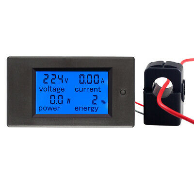 100a Ac Digital Lcd Current Energy Watt Kwh Panel Meter Ammeter Voltmeter Ct