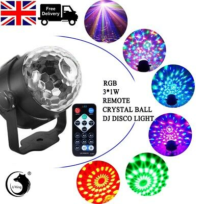 LED Magic Ball Stage Light Club RGB Rotating Disco Party DJ Decor Remote new UK