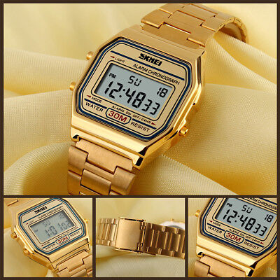 Women Gold Stainless Steel LED Digital Date Alarm Waterproof Sport Quartz Watch