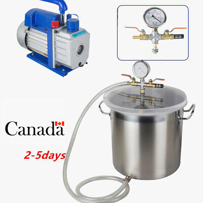 CA 5Gallon Stainless Steel Vacuum Degassing Chamber Silicone Kit w/3 CFM Pump, used for sale  Canada