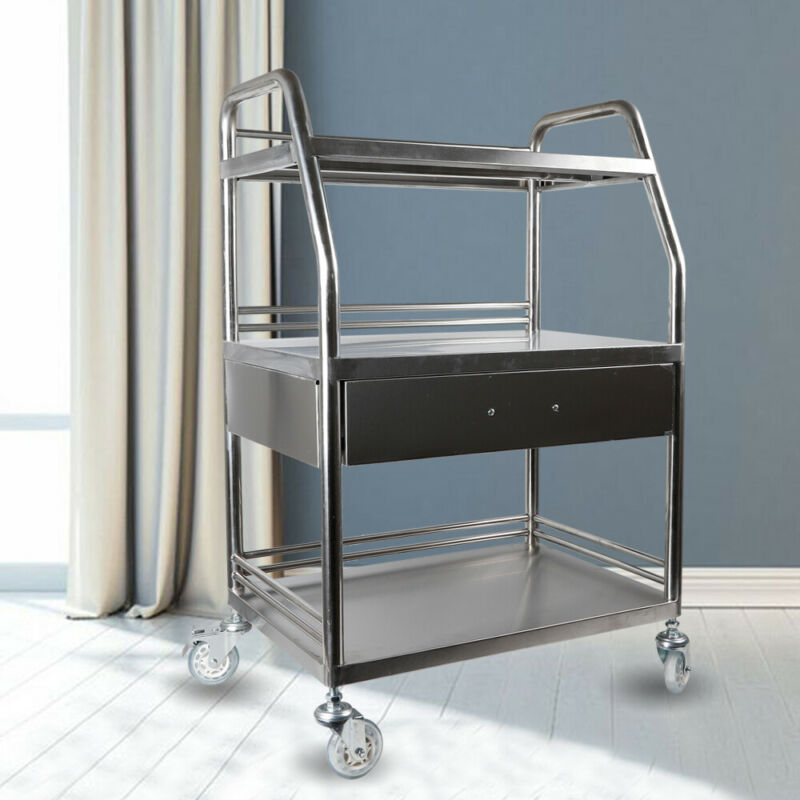 Stainless Steel Hospital Cart Trolley 3 Layers W/ One Drawer Lab Trolley