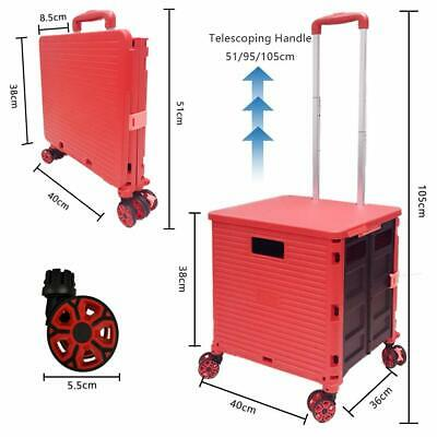 Cart Folding Portable Rolling Handcart 4 Rotate Wheels For Travel Shopping