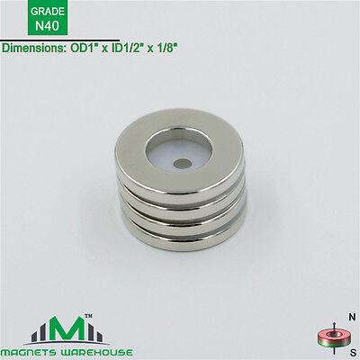 4-count Neodymium N40 Ndfeb Ring Magnets 1od X 12 Id X 18 T True N40