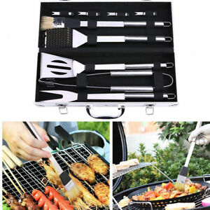 BIG SALE 9 Accessories BBQ Set Tongs Fork Brush Grill Tools Outdoor Camp HOT