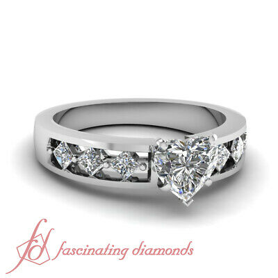 Channel Set Engagement Ring 1.20 Ct Heart Shaped & Princess Cut Diamond SI1 GIA
