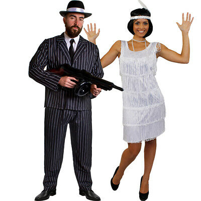 GANGSTER AND FLAPPER COUPLES COSTUME 1920'S FANCY DRESS THE GREAT GATSBY OUTFIT](1920s Flapper And Gangster)