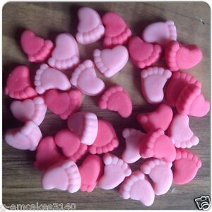 30 pink mix baby girl feet edible sugar cake decorations for Baby feet decoration