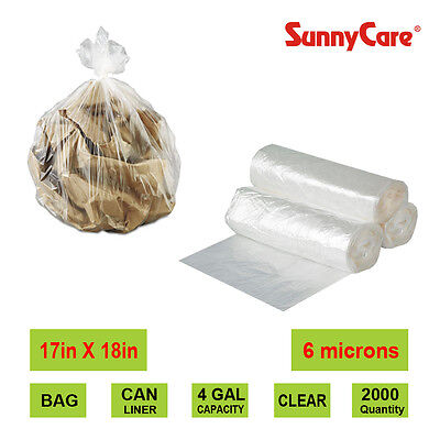 "SunnyCare® 4 Gallon 6 Micron 17"" x 18"" High Density Can Liner/ Trash Bag 2000"