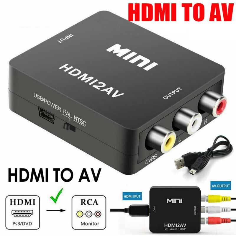 Mini Composite HDMI To AV RCA 1080P Audio Video AV CVBS Adapter Converter For TV