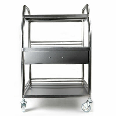 Hospital Cart Trolley 3 Layers W One Drawer Lab Trolley Stainless Steel Silver