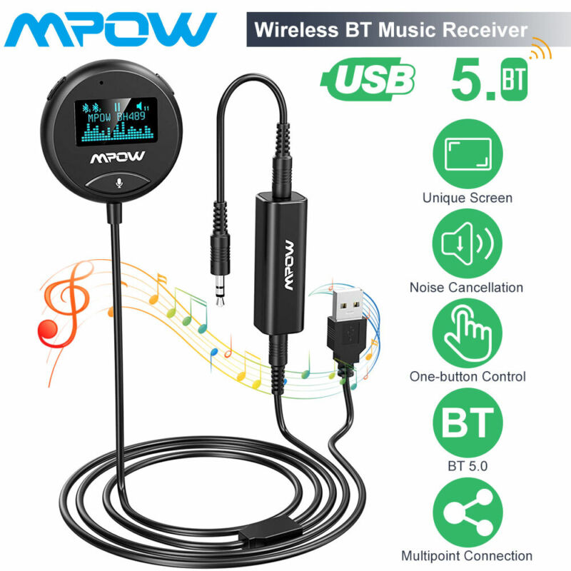 Mpow Bluetooth Car Kit Wireless Receiver 3.5mm with Ground Loop Noise Isolator