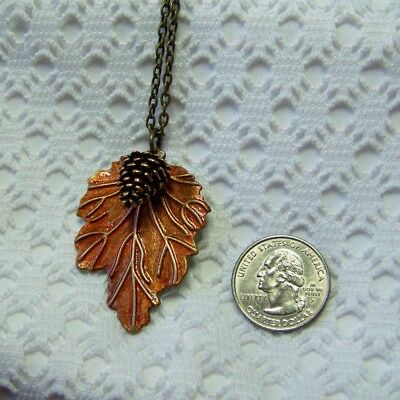 Winter Leaf Pendant Necklace With Pine Cone, Large Colored Copper Leaf Jewelry](Pinecone Jewelry)