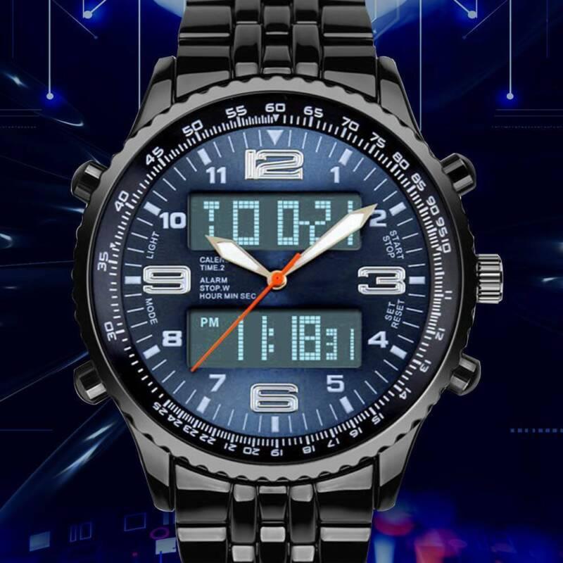 LED Herren Uhr Armbanduhr Blau Edelstahl Quarzuhr Wasserdicht Sportuhr