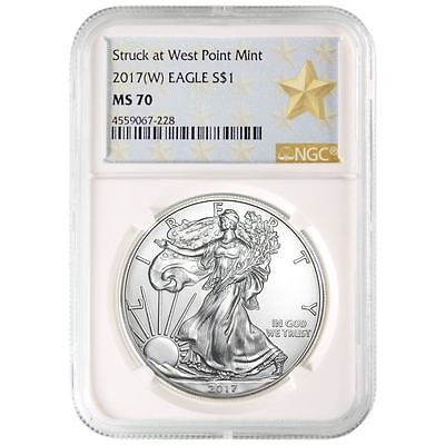 2017  W  American Silver Eagle Ngc Ms 70   West Point Star Label White Core