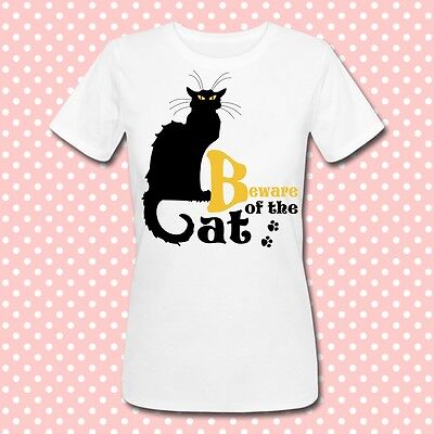 T-shirt Beware of the cat, le chat noir, Halloween costume idea, black cat!](Cat Costumes Ideas)