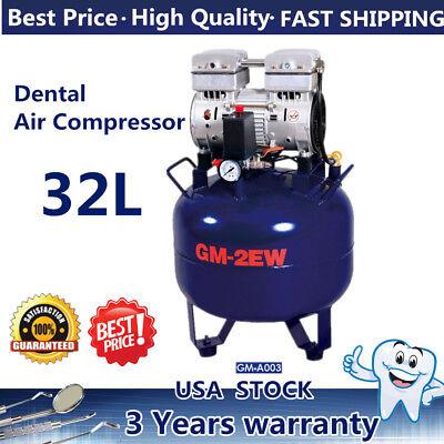 Dental Air Compressor Oil Free Tank 32l Noiseless Silent Oil-less Oil Free 850w