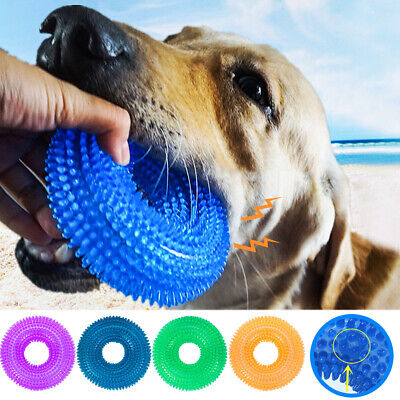 Pet Dog Teething Chew TPR Squeaky Toys Ball Durable Bite Res
