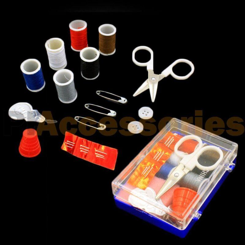 18 Pcs Scissor Thread Needle Thimble Safety Pin Mini Travel Sewing Kit with Case