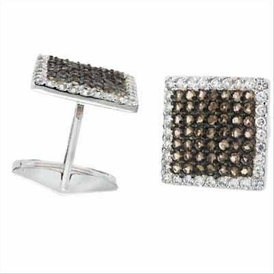 Crystal Cubic Zirconia Cufflinks - 925 Silver Smokey Quartz CZ Square Cufflinks