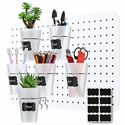 6 Sts Pegboard Bins With Rings And Labels Style Board Hooks Cups Holder For