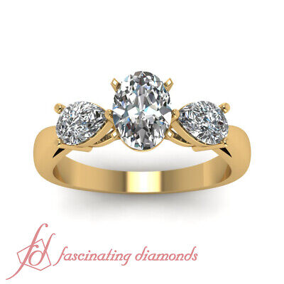 1.4 Ct Oval Shaped Yellow Gold 3 Stone Diamond Engagement Rings GIA Ring Sz 5-10 1