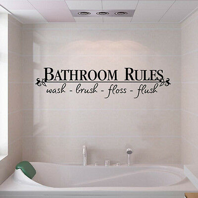 BATHROOM RULES Quote BathRoom Wall Decals Stickers Vinyl Art Home DIY Decor US (Decor Home)