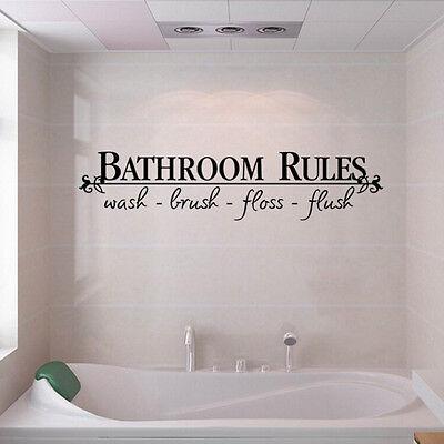 BATHROOM RULES Quote BathRoom Wall Decals Stickers Vinyl Art Home DIY Decor US