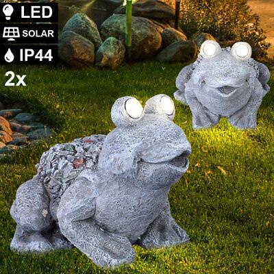 Set of 2 LED solar lamp deco figure garden sculpture frog lamp outdoor spotlight