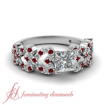 3/4 Carat Princess Cut Diamond And Ruby Gemstone Heart Design Engagement Rings