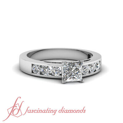 .90 Ct Princess Cut Conflict Free Diamond Dainty Shimmer Engagement Ring 14K GIA