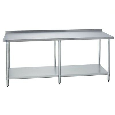 Stainless Steel Commercial Work Prep Table - 2 Backsplash - 24 X 96 G