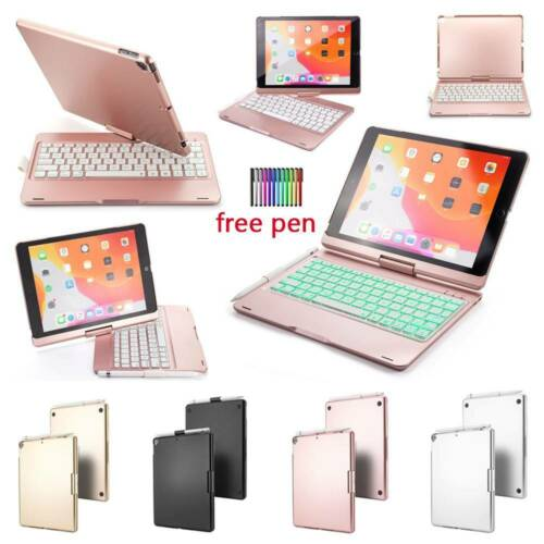 Wireless Bluetooth Backlit Keyboard Rotate Case Cover For iP
