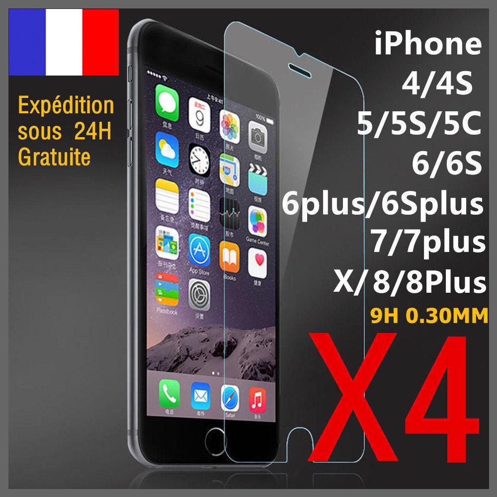 lot vitre protection verre trempé film écran iphone 8 7 6s 6 plus 5 x xr xs max
