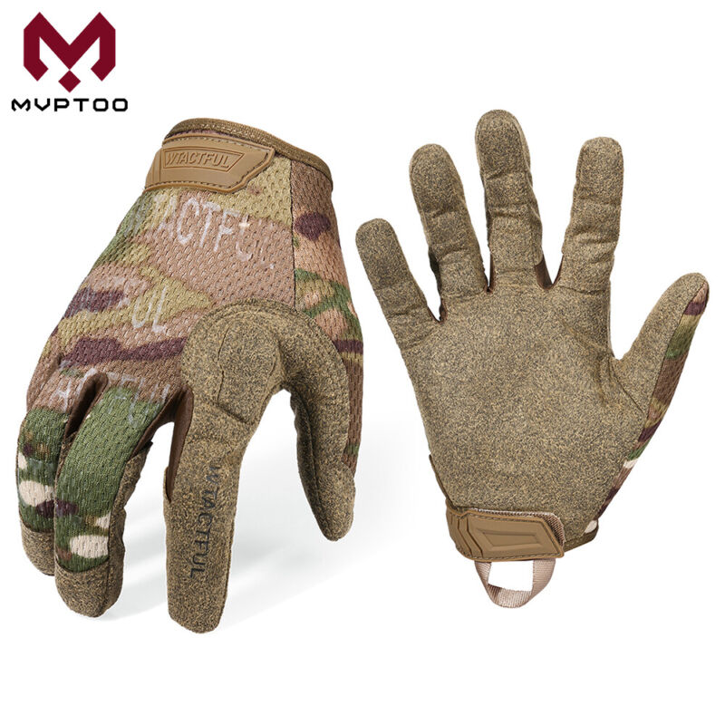 Multicam Army Military Combat Hunt Shoot Motorcycle Cycle Full Finger Gloves US