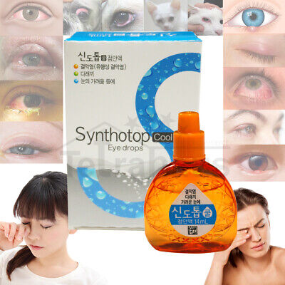 Synthotop Cool 14ml Eye Drops Conjunctivitis Sty Antibacterial Itchy Eyes Relief