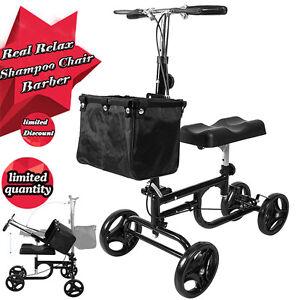 Foldable Medical Steerable Knee Scooter Adult Walker Wheels Basket Crutch Black