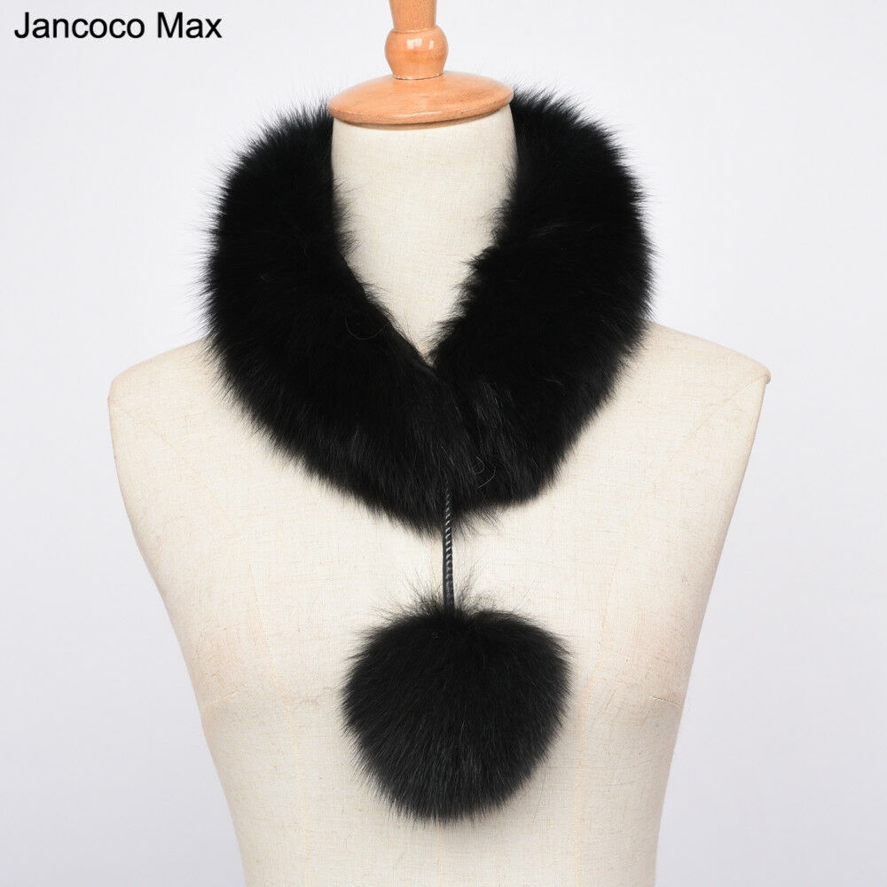 2019 Fashion Real Fur Scarf Collar with Pompom Women Neck